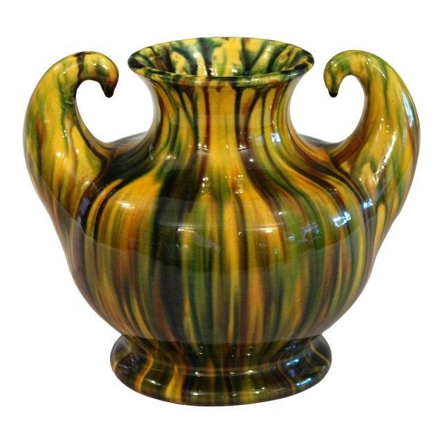 "Awaji Vintage Japanese Studio Pottery Yellow Flambe"" Muscle"" Vase For Sale"