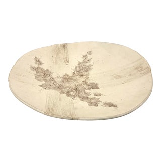 Vintage Mid Century Modern Beige Art Pottery Centerpiece Dish For Sale