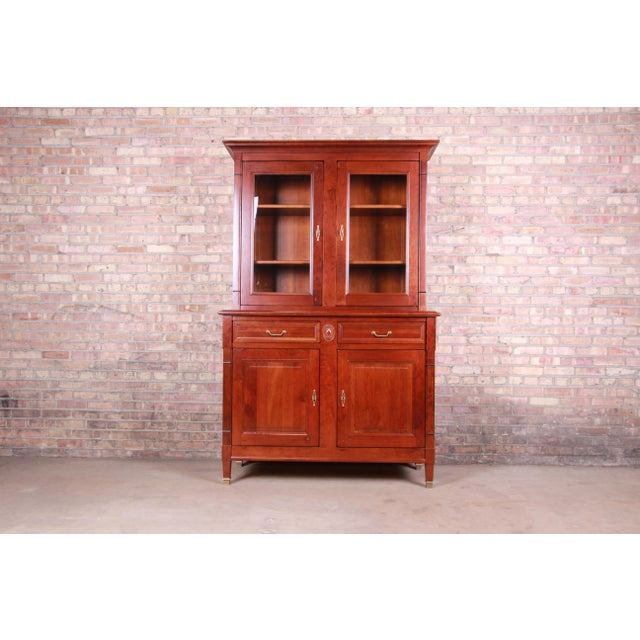 French Provincial Solid Cherry Breakfront Bookcase or Bar Cabinet by Grange For Sale - Image 13 of 13