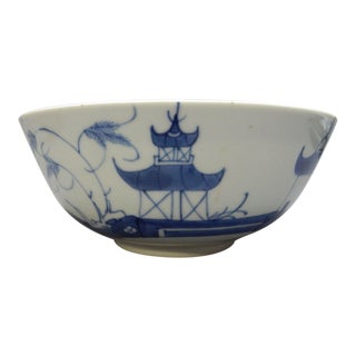 Antique Chinese Export Blue and White Canton Serving Bowl For Sale