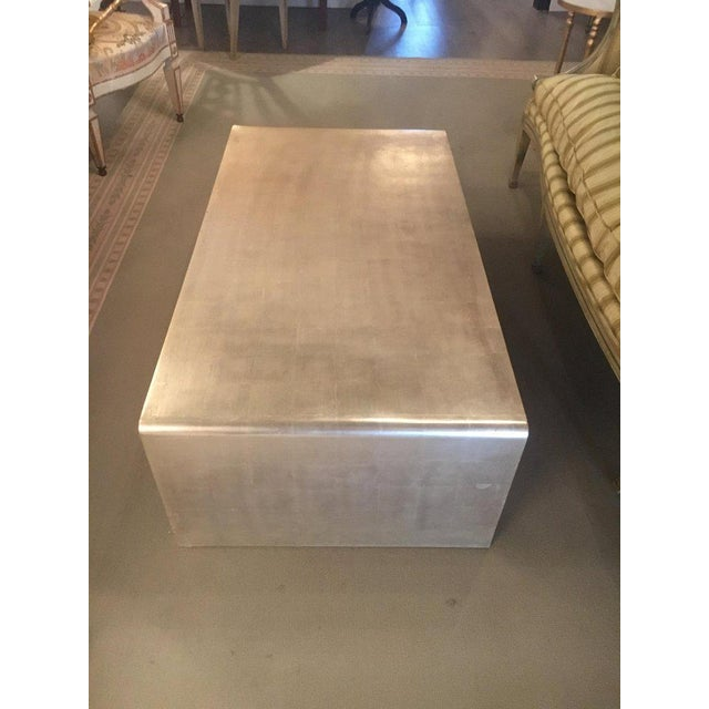 Jean Michel Frank Adolphe Chanaux Waterfall Coffee Table With Silver Leaf Finish in the Style of Jean Michel Frank For Sale - Image 4 of 9