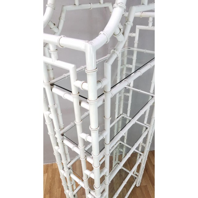 Metal 1950s Hollywood Regency White Metal Pagoda Faux Bamboo Etagere For Sale - Image 7 of 13