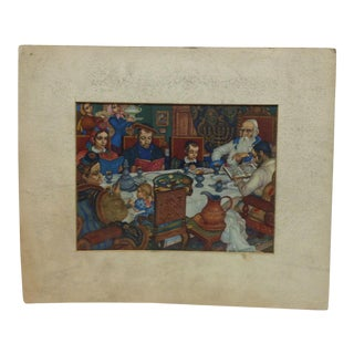 "Vintage ""Passover Meal"" Religious Print by Arthur Szyk For Sale"