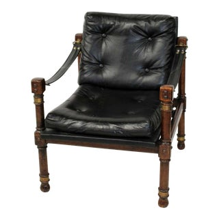Vintage Mid Century Black Tufted Leather Armchair For Sale