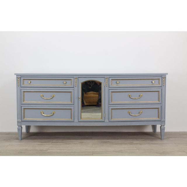 Neoclassical Mid Century Gray Neoclassical Style Dresser For Sale - Image 3 of 11