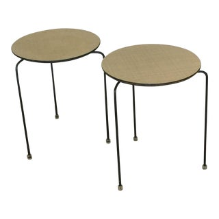 1950s Slender Tripod Lucite Detail Laminate Side Tables - a Pair For Sale