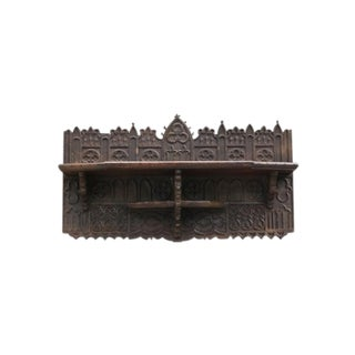 18th-Century English Gothic Carved Oak Wall Shelf