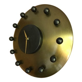 1950s Mid-Century Modern Brass Atomic Wall Hanging Clock
