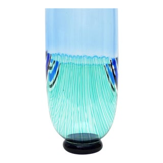 Seguso Blue Blown Glass Vase For Sale