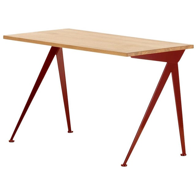 Jean Prouvé Compas Direction Desk in Natural Oak and Red Metal for Vitra For Sale In Los Angeles - Image 6 of 6