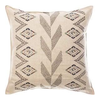 Herringbone Diamond Embroidered Pillow For Sale