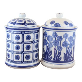 Vintage Chinese Lidded Canisters - a Pair For Sale