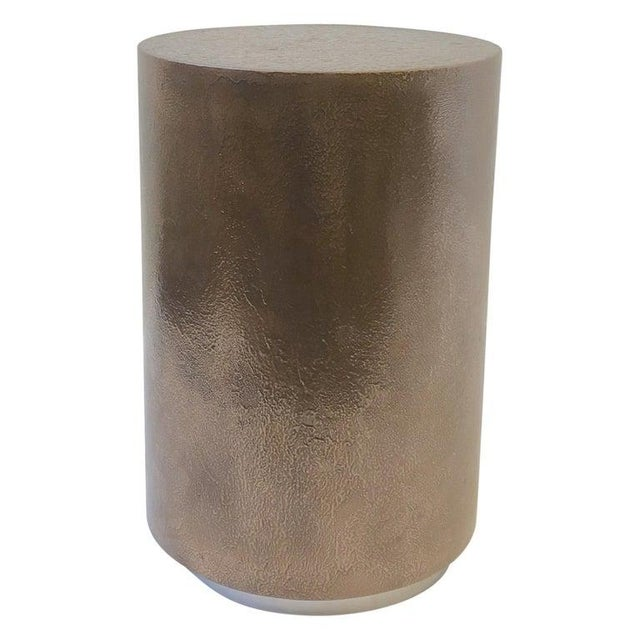 Gold 1980s Bronze and Chrome Drum Table by Steve Chase For Sale - Image 8 of 8