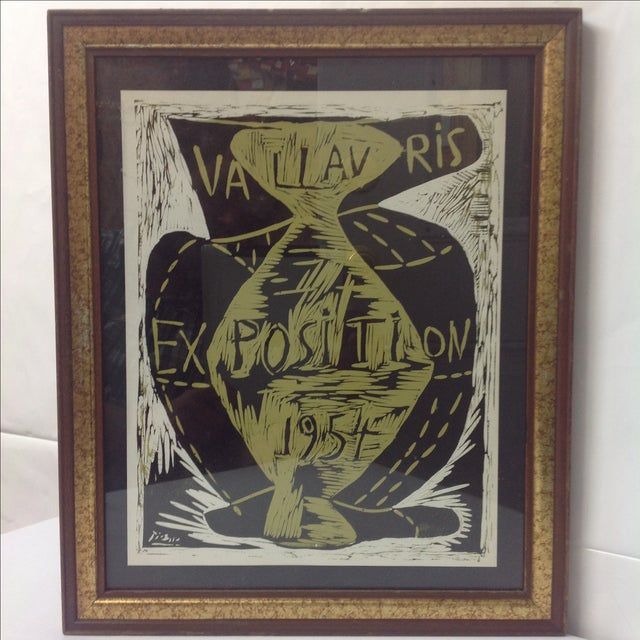 A Picasso Vallauris 1954 Exposition Poster. Green and black print of 1954 linocut by Picasso, signed in the sheet.