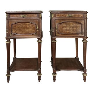 Pair 19th Century Louis XVI Bronze Mounted Mahogany Nightstands by Schmit of Paris For Sale