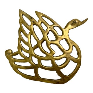 Brass Swan Trivet For Sale