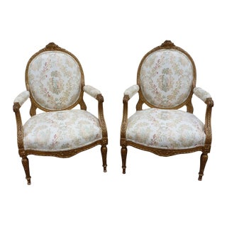Mid 19th Century Antique French Louis XVI Style Carved Gilt Bergeres - A Pair For Sale