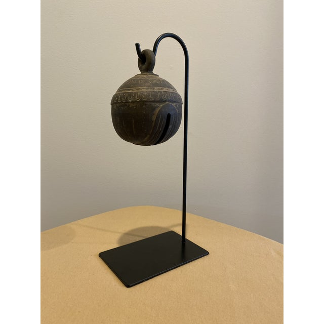 Antique Metal Elephant Bell on Stand For Sale - Image 9 of 9