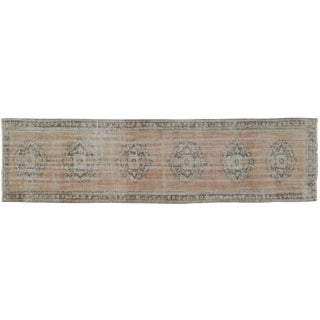 """Faded Colors Runner Low Pile Distressed Oushak Rug Runner - 2'7"""" X 10'2"""" For Sale"""