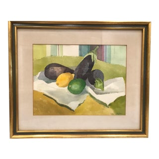 Mid 20th Century Fruit Still Life Watercolor Painting, Framed For Sale