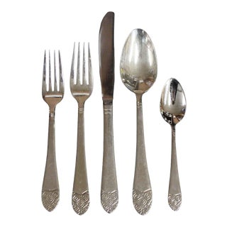 Salvaged Waldorf Art Deco Place Setting Flatware - Set of 5 For Sale
