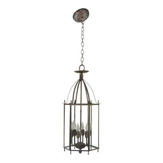 Beveled Glass Small 6 Light Hanging Chandelier Fixture For Sale