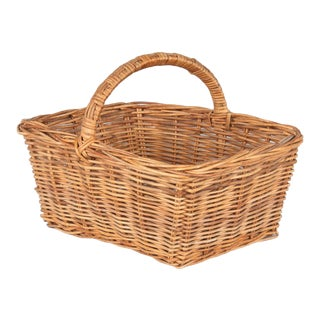 Vintage French Wicker Basket For Sale