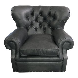 New Restoration Hardware Churchill Black Leather W Nailheads Swivel Chair