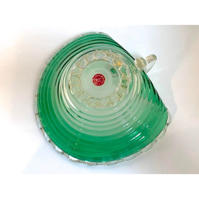 Vintage Murano Glass Green Scalloped Candy Dish With Gold Flecks For Sale In San Diego - Image 6 of 8