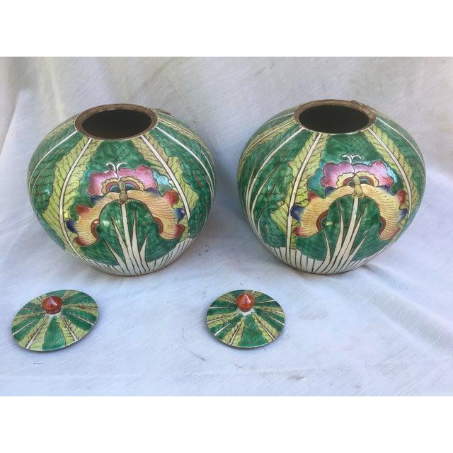 Lotus Flower Ginger Jars - A Pair - Image 7 of 8