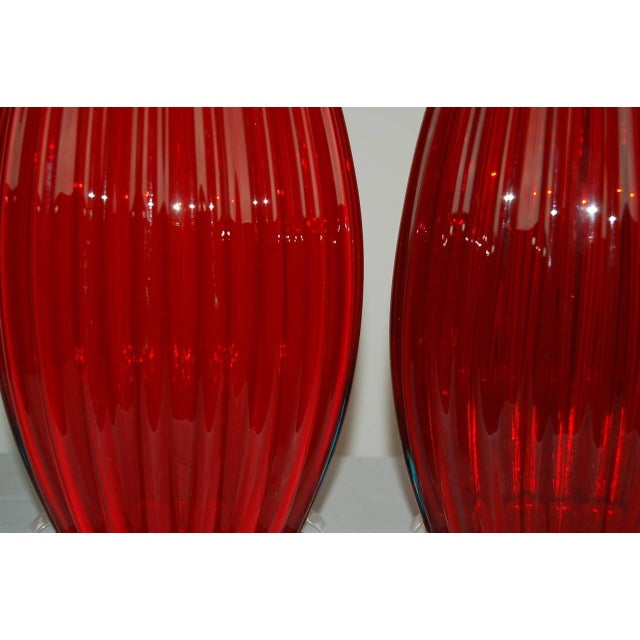 Vintage Murano Glass Table Lamps Scarlet Red For Sale In Little Rock - Image 6 of 9