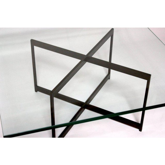 Mid-Century Bronze & Glass X-Base Coffee Table For Sale - Image 5 of 10