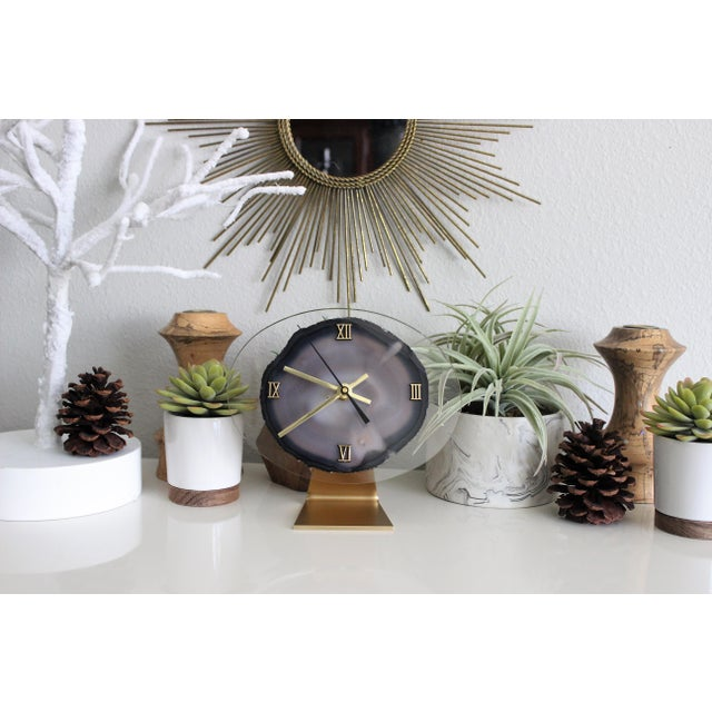 Modern Gray Agate Desk Clock - Image 7 of 8