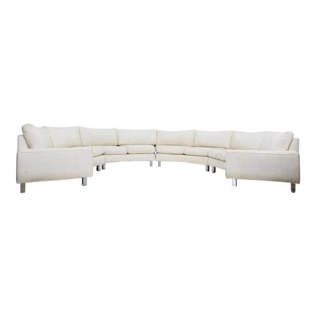 Large Milo Baughman White Upholstered Four Section Circular Sofa For Sale