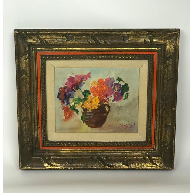 1970s Vintage Flower Still Life Oil on Canvas Painting For Sale - Image 11 of 11