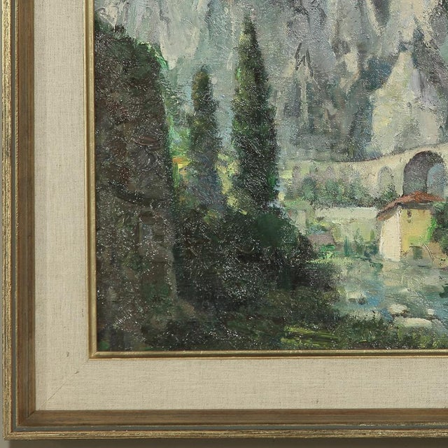 Mid- Century Original Painting on Canvas by Tilleux of Italian Alps For Sale In Baton Rouge - Image 6 of 12
