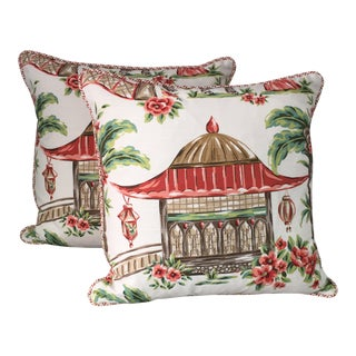 Chinoiserie Style Pillows - A Pair For Sale