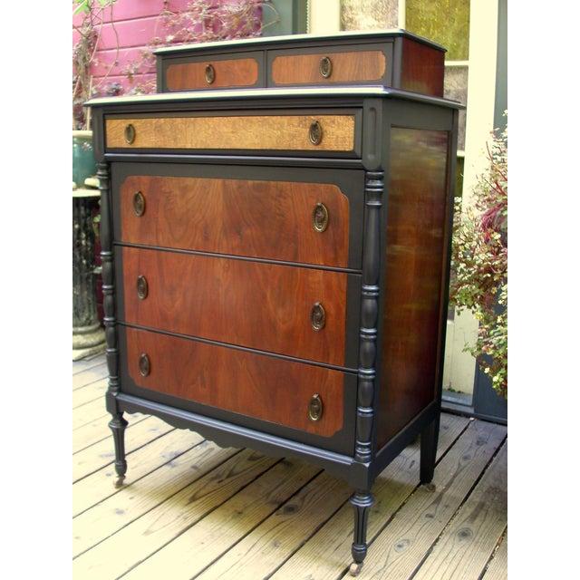Mid-Century Modern National Furniture Company Heirloom Walnut Highboy Dresser For Sale - Image 3 of 11