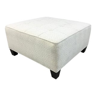 Thomasville Modern Ivory and Beige Chevron Print Tufted Ottoman For Sale