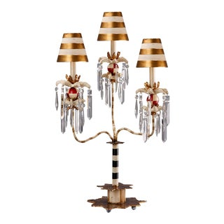 Birdland III 3 Light Striped Table Lamp For Sale