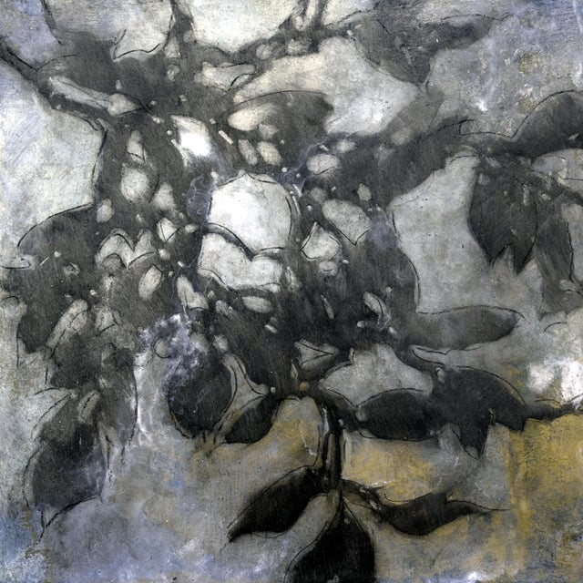 """Gold Michelle Gagliano """"Nebular Vines 9432"""" Botanical Oil Painting on Wood Panel For Sale - Image 8 of 8"""