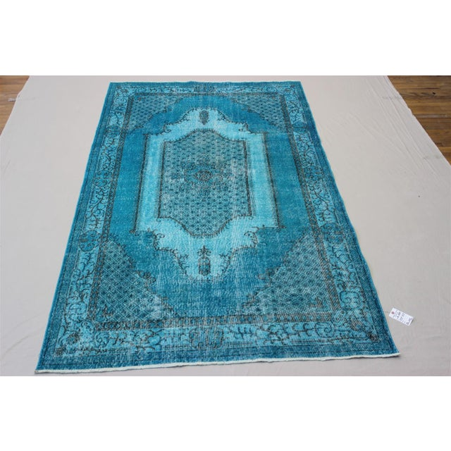 Turkish Over-Dyed Turquoise Rug - 5′5″ × 9′3″ - Image 2 of 11