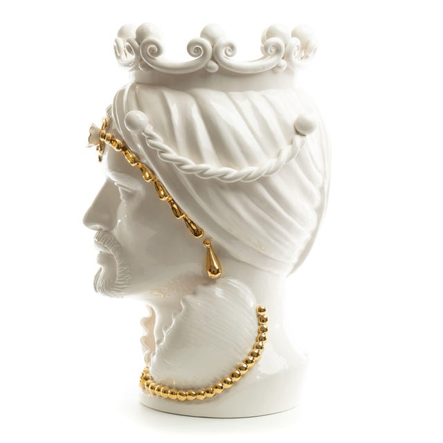 Modern 24 Karat Gold Sicilian Gigante Head, Schittone Modern Moro For Sale - Image 3 of 10