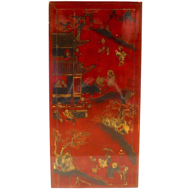 Asian Chinese style red lacquered rectangular coffee table with a top of scene with figures and floral motifs supported on...