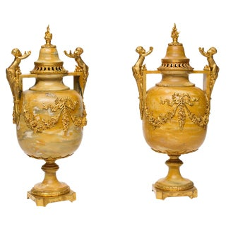 19th Century Louis XVI Marble and Ormolu Urns - a Pair For Sale