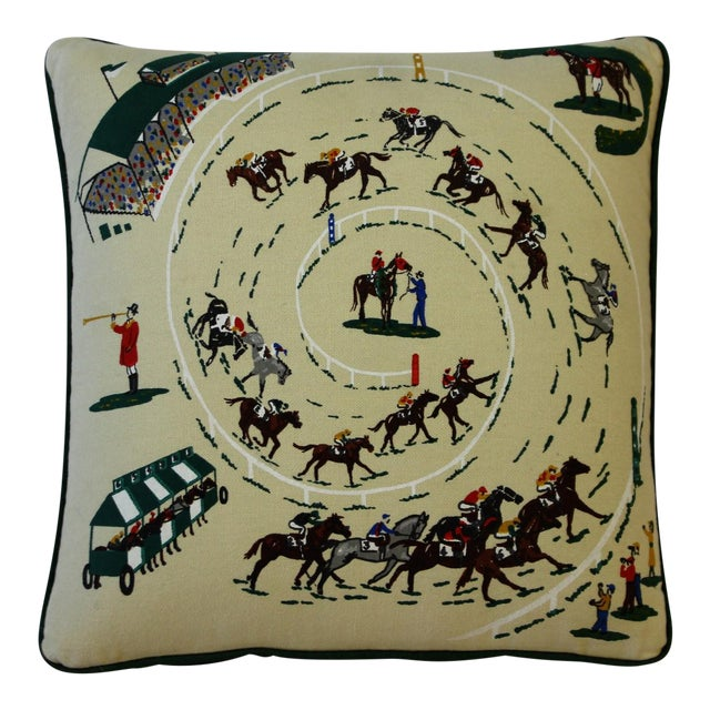 Green Pair of Race Track Canvas Pillows For Sale - Image 8 of 8