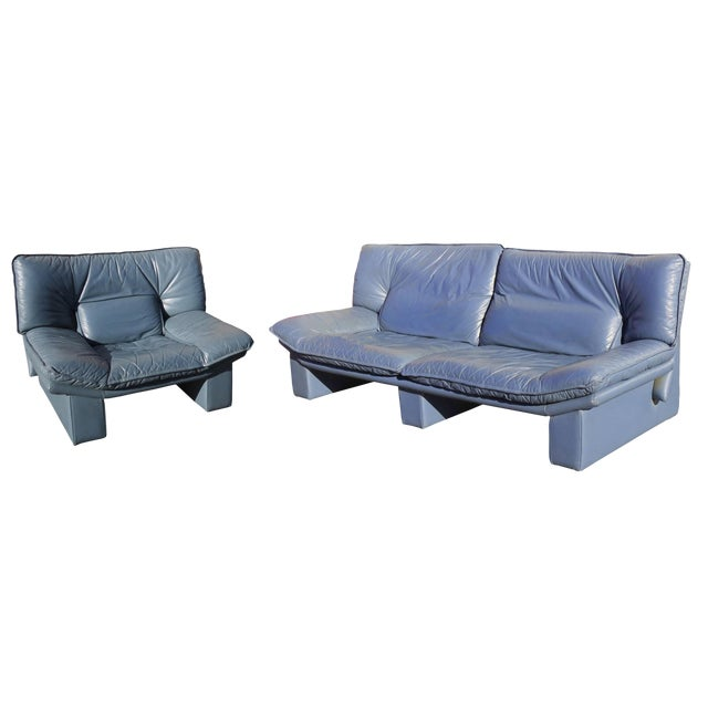 1970's Modern Nicoletti Salotti Leather Sofa and Lounge Chair- 2 Pieces For Sale