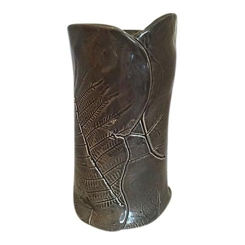 Dark Gray Vase with Leaf Design For Sale