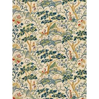 Scalamandre Kelmescott Hand Block Print Fabric, Peacock on Sand For Sale
