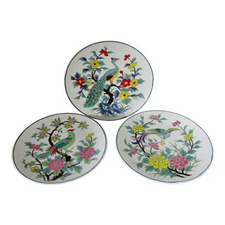 Bird-Themed Porcelain Wall Plates, Set of 3 For Sale
